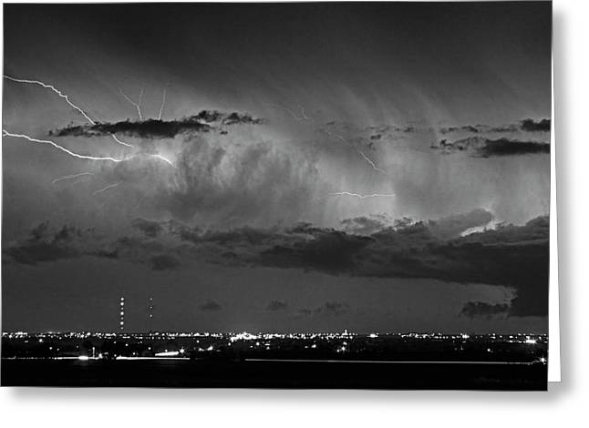 Cloud To Cloud Lightning Boulder County Colorado Bw Greeting Card by James BO  Insogna