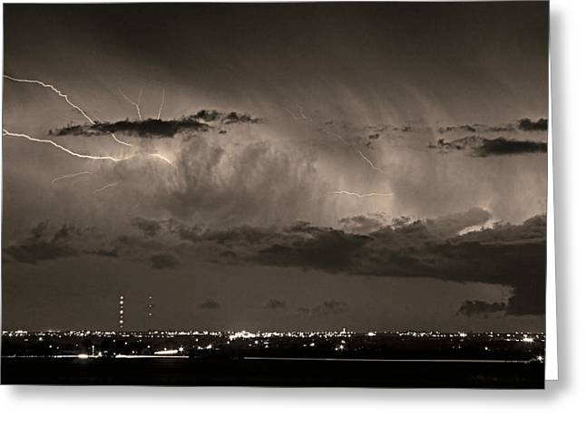 Cloud To Cloud Lightning Boulder County Colorado Bw Sepia Greeting Card