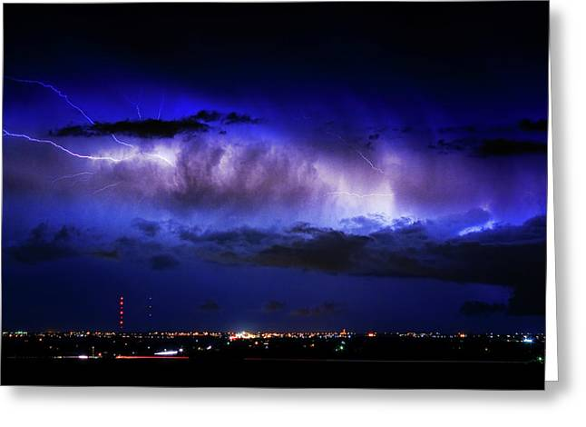 Cloud To Cloud Lightning Boulder County Colorado Greeting Card