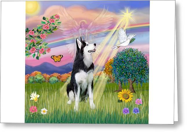 Cloudangel #1 - Siberian Husky Greeting Card