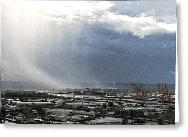 Greeting Card featuring the photograph Cloudburst - Tacoma by Sean Griffin