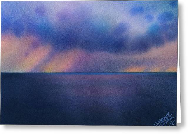 Cloudburst At Sea Greeting Card by Robin Street-Morris