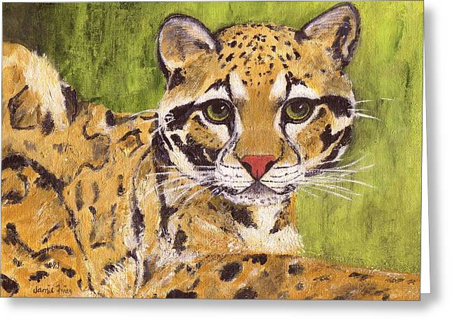Greeting Card featuring the painting Clouded Cat by Jamie Frier