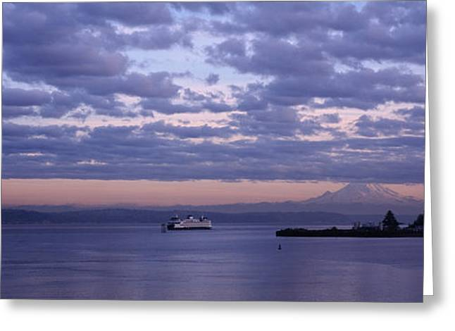 Clouded Sky Over The Sea, Elliott Bay Greeting Card