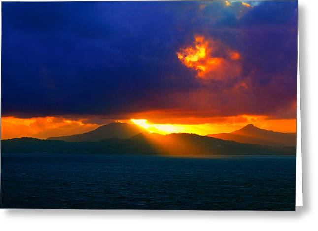 Best Ocean Photography Greeting Cards - Clouded Sunrise Greeting Card by Perry Webster
