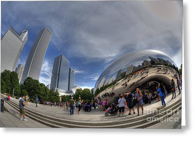 Cloudgate In Milliennium Park Greeting Card by David Bearden