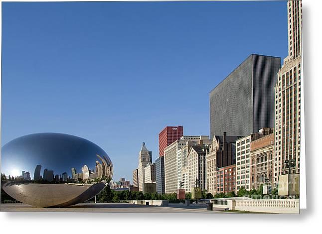 Cloudgate Reflects Michigan Avenue  Greeting Card