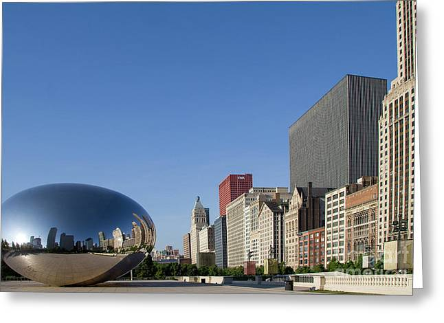 Cloudgate Reflects Michigan Avenue  Greeting Card