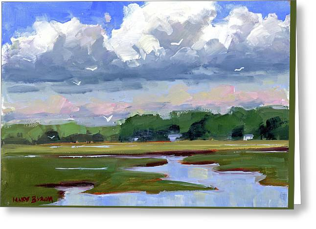 Clouds Above The Marsh Greeting Card by Mary Byrom