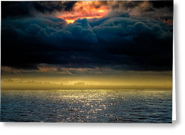 Clouds Across The Water Greeting Card by Bob Orsillo