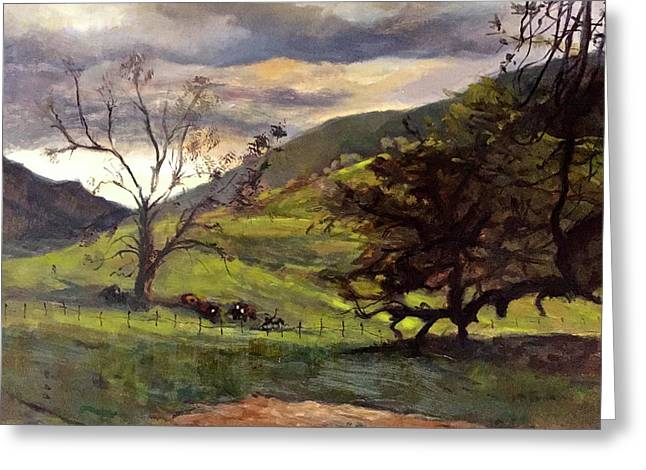 Clouds And Cattle Greeting Card