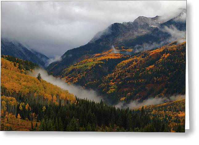 Greeting Card featuring the photograph Clouds And Fog Encompass Autumn At Mcclure Pass In Colorado by Jetson Nguyen