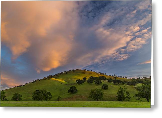 Clouds And Hill At Sunrise Greeting Card