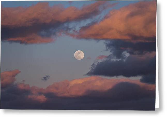 Greeting Card featuring the photograph Clouds And Moon March 2017 by Terry DeLuco