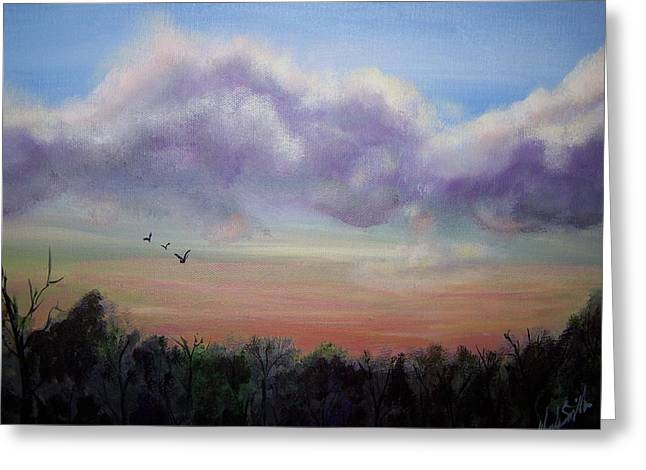 Clouds At Dusk Greeting Card by Wendy Smith