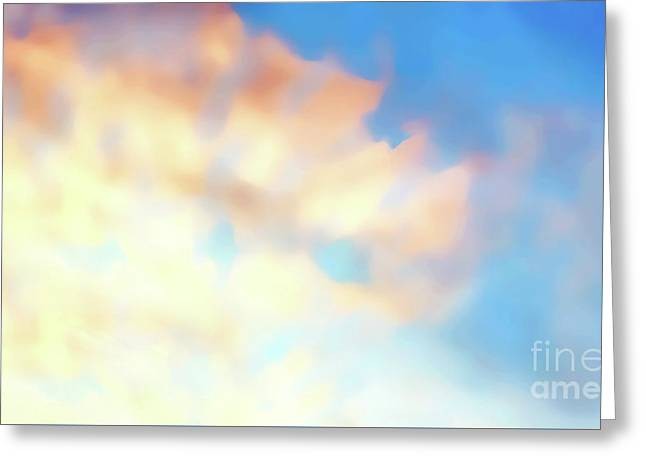 Clouds At Sunset, Beautiful Light Settings, Graphic From Painting. Greeting Card by Jozef Klopacka