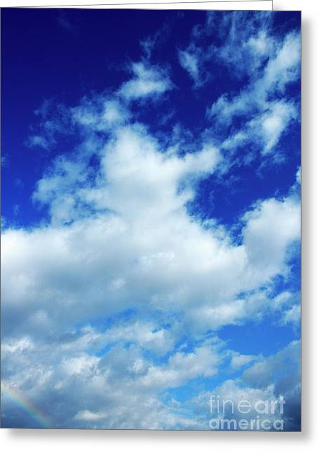 Clouds In A Beautiful Blue Sky Greeting Card by Sami Sarkis