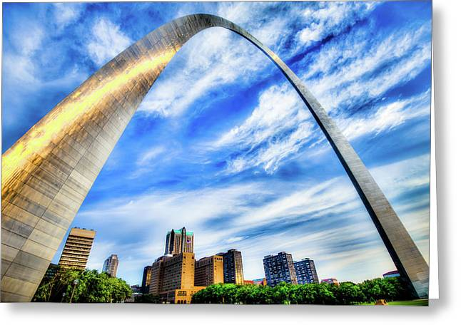 Clouds Moving Over The Saint Louis Skyline And Arch  Greeting Card