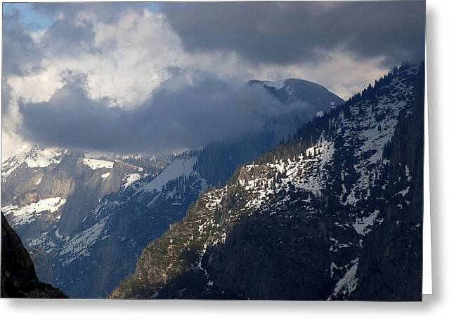 Clouds On Half Dome Greeting Card by Richard Verkuyl