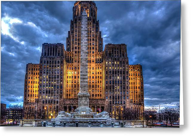 Clouds Over City Hall Greeting Card by Don Nieman
