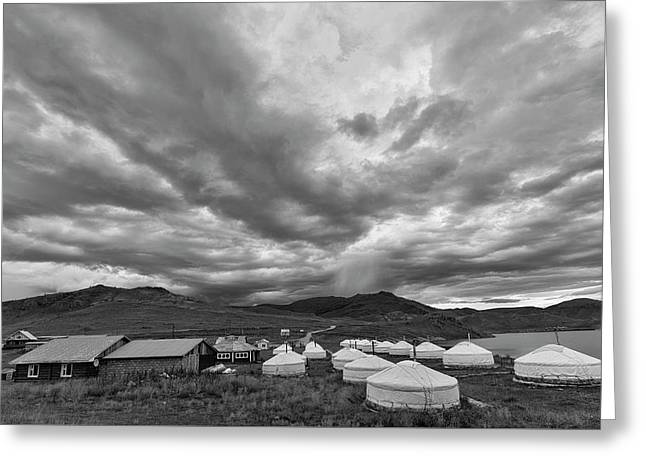 Clouds Over Ger Camp Greeting Card by Hitendra SINKAR