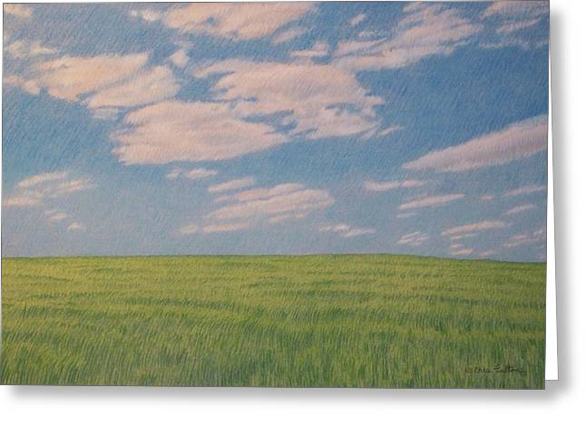 Clouds Over Green Field Greeting Card