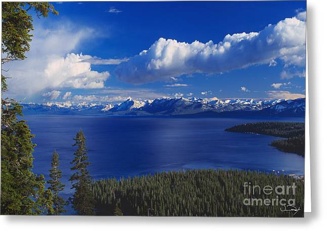 Clouds Over Lake Tahoe Greeting Card by Vance Fox