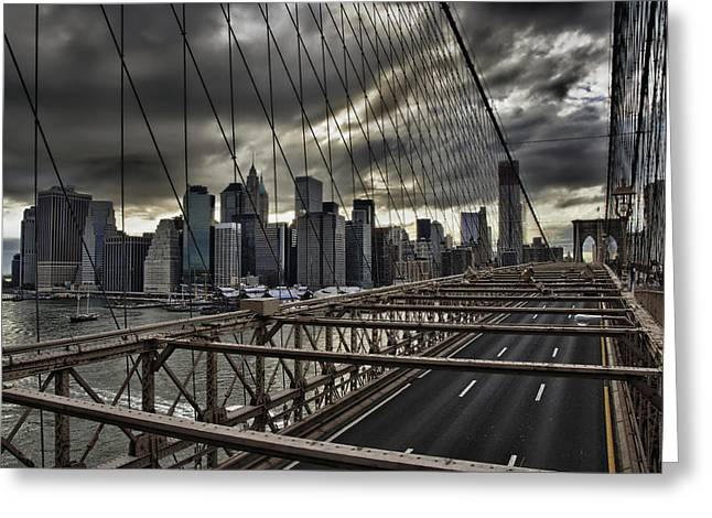 Clouds Over Manhattan Greeting Card by Andreas Freund