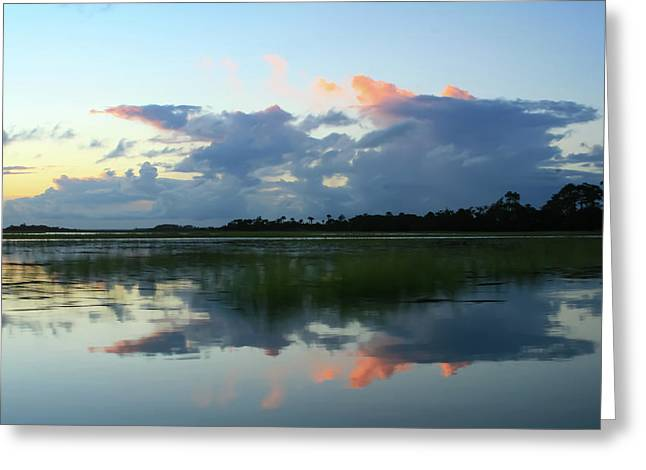 Clouds Over Marsh Greeting Card by Patricia Schaefer
