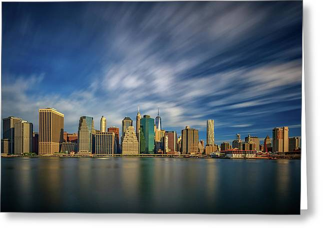 Clouds Over New York Greeting Card by Rick Berk