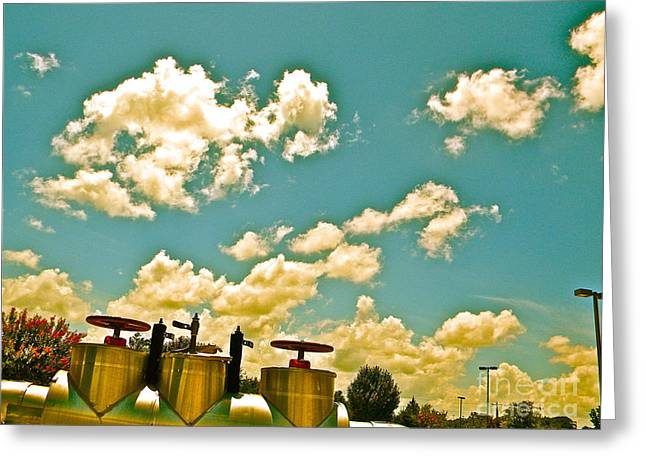 Clouds Over Oil Field Equipent Greeting Card by Chuck Taylor