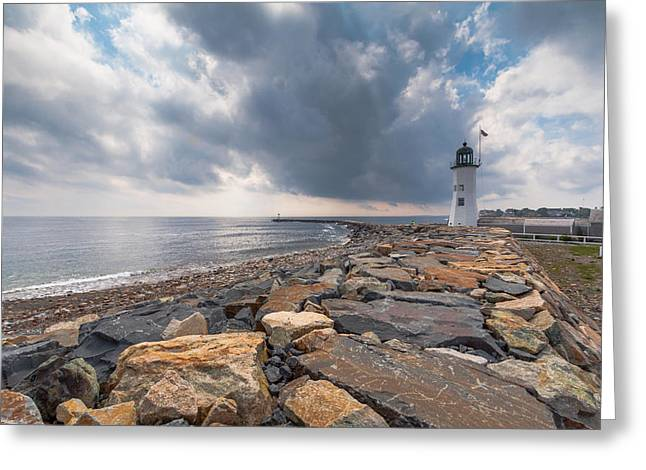 Clouds Over Old Scituate Light Greeting Card