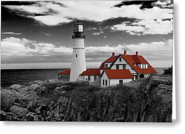 Clouds Over Portland Head Lighthouse 3 - Bw Greeting Card by Lou Ford