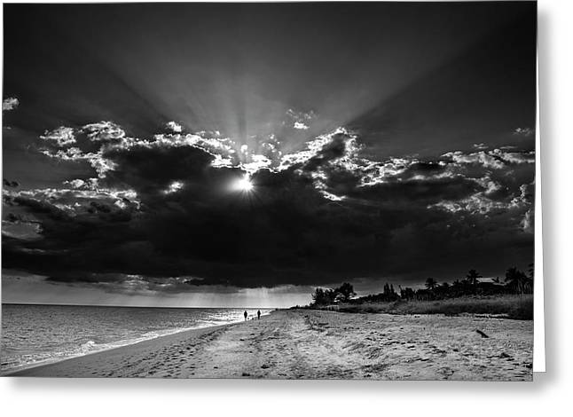 Clouds Over Sanibel Island Florida In Black And White Greeting Card by Chrystal Mimbs