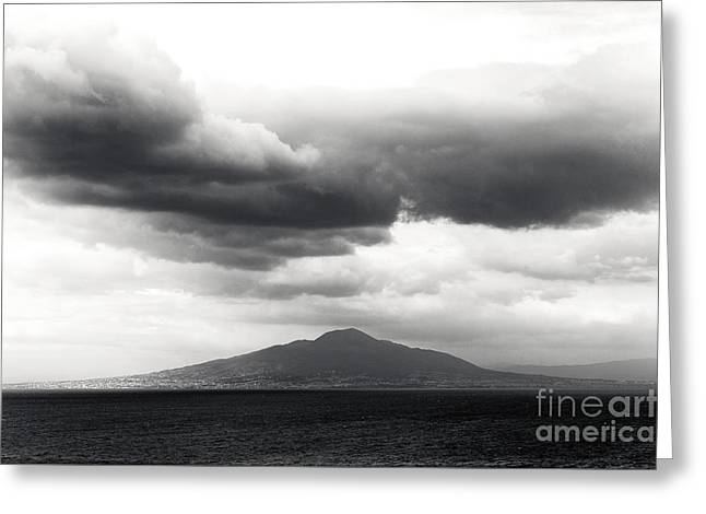 Clouds Over The Bay Of Naples Greeting Card by John Rizzuto