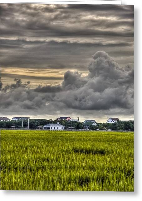 Clouds Over The Chapel Greeting Card by Ginny Horton