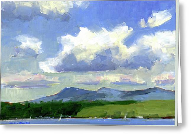 Clouds Over The Lake Greeting Card by Mary Byrom