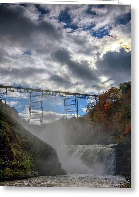 Clouds Over Upper Falls Greeting Card by Rick Berk