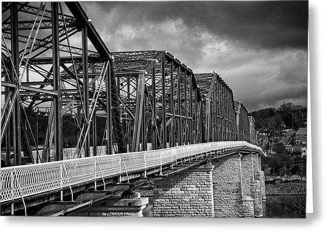 Greeting Card featuring the photograph Clouds Over Walnut Street Bridge In Black And White by Greg Mimbs