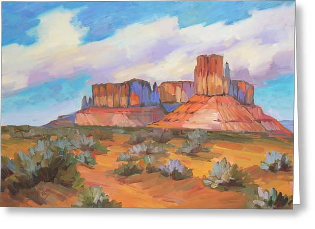 Greeting Card featuring the painting Clouds Passing Monument Valley by Diane McClary
