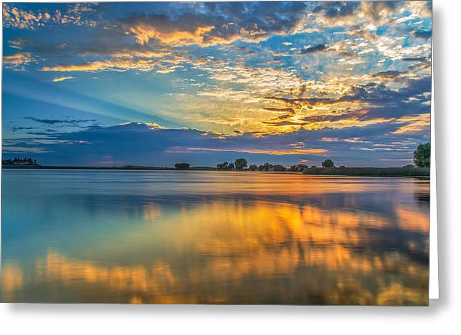 Clouds Reflected At Sunrise Greeting Card