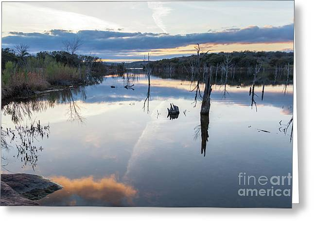 Clouds Reflecting On Large Lake During Sunset Greeting Card