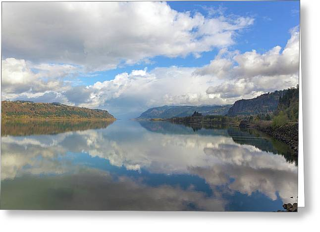 Clouds Reflection On The Columbia River Gorge Greeting Card by David Gn
