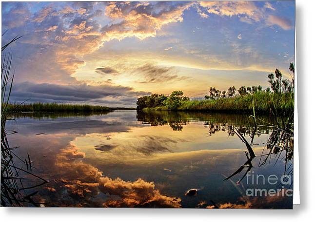 Greeting Card featuring the photograph Clouds Reflections by DJA Images