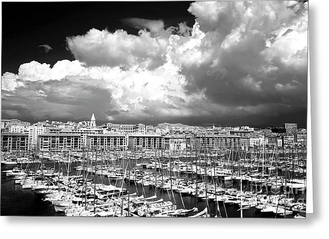 Clouds Rolling In Over The Port Greeting Card