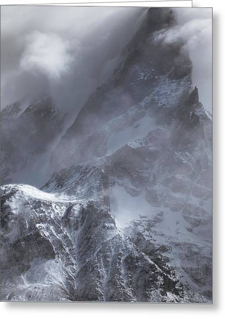 Clouds Rolling Over The Tops Of The Mountain In Torres Del Paine, Chile Greeting Card
