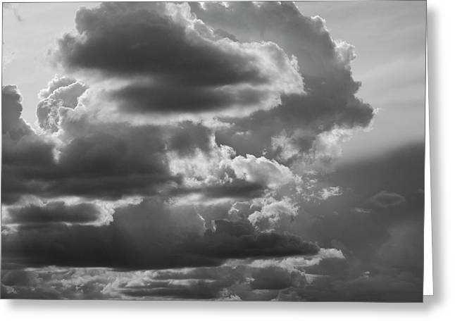 Cloudscape Xv Bw Sq Greeting Card