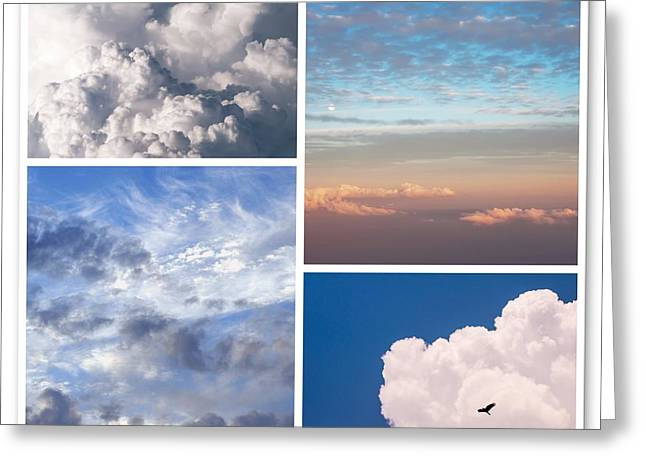 Greeting Card featuring the photograph Cloudscapes Collage by Jenny Rainbow