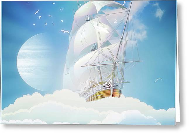 Cloudship Greeting Card by Harald Dastis