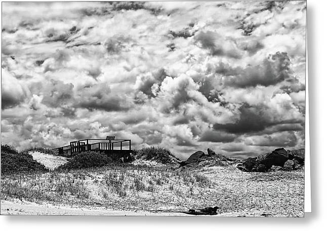 Cloudy Beach Black And White By Kaye Menner Greeting Card